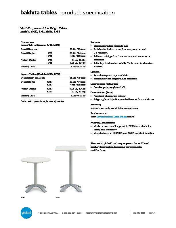 Bakhita™ Tables Brochure Cover