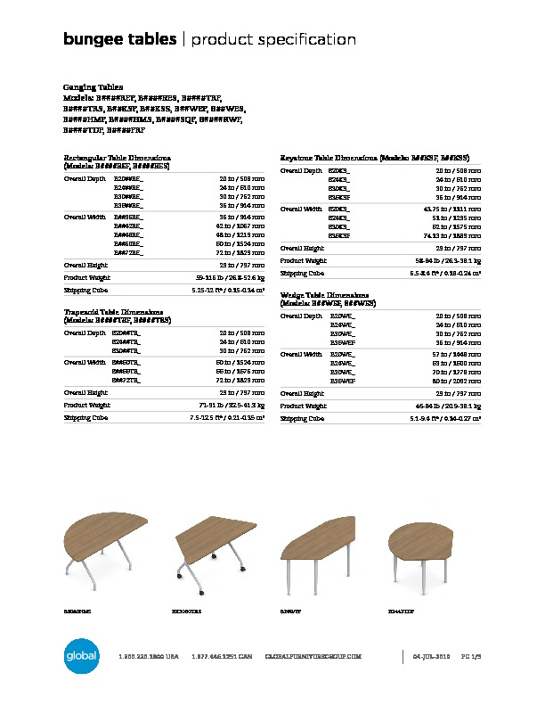 Bungee™ Tables Brochure Cover