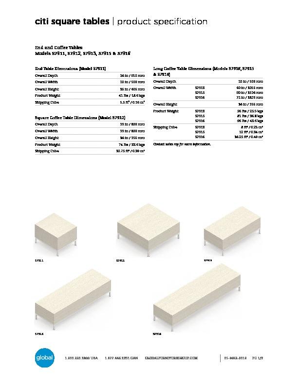 Citi Square™ Tables Brochure Cover