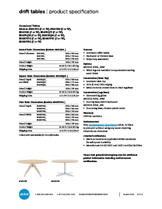 Drift™ Tables Brochure Cover