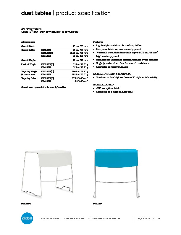 Duet™ Tables Brochure Cover