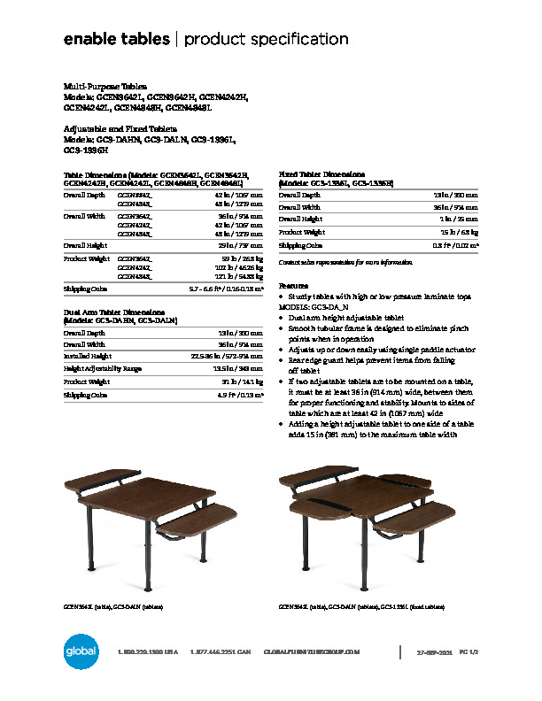 Enable™ Tables Brochure Cover