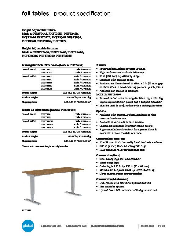 Foli Height Adjustable Tables Brochure Cover