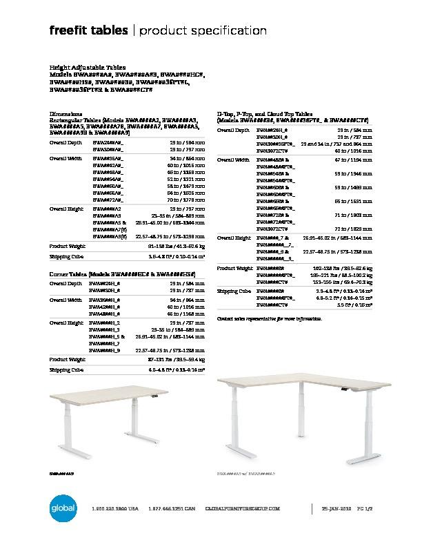 FreeFit™ Tables Brochure Cover