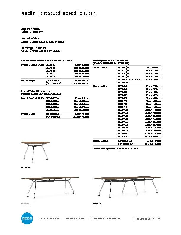 Kadin™ Tables Brochure Cover