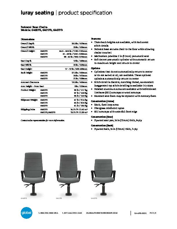 Pedestal Seating Brochure Cover