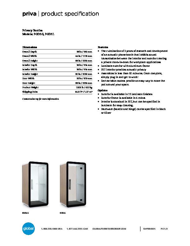 Priva™ Acoustic Pod Brochure Cover