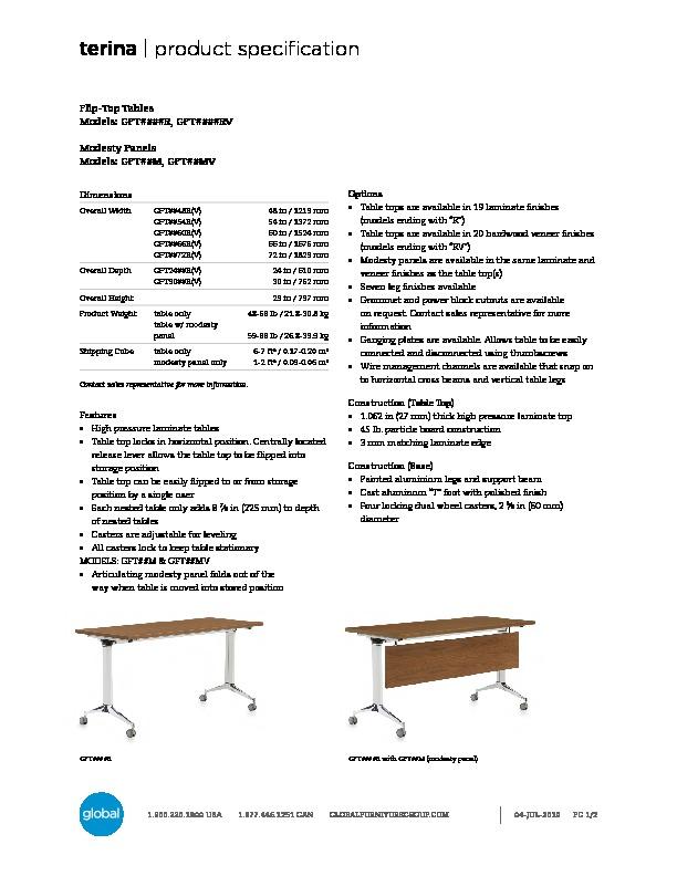 Terina™ Tables Brochure Cover