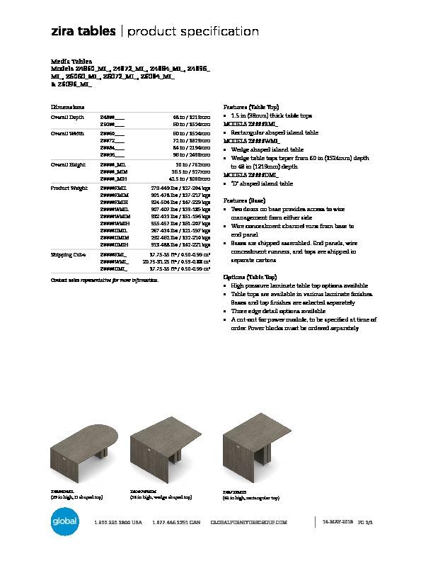 Zira™ Tables Brochure Cover
